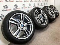 "GENUINE 18"" BMW 3/4 SERIES MSPORT ALLOY WHEELS & TYRES - 5 X 120 - GLOSS SHADOW SILVER"