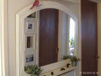 white wooden mantle mirror 103 x 79 cm
