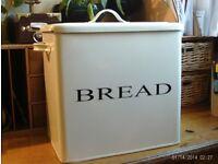 large enamel metal bread bin