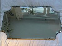 antique bevelled edge mirror 61 x 48 cm