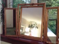 3 way wooden dressing table mirror 65 x 52 cm