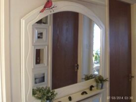 white wooden mantle mirror 103 x 79 cm