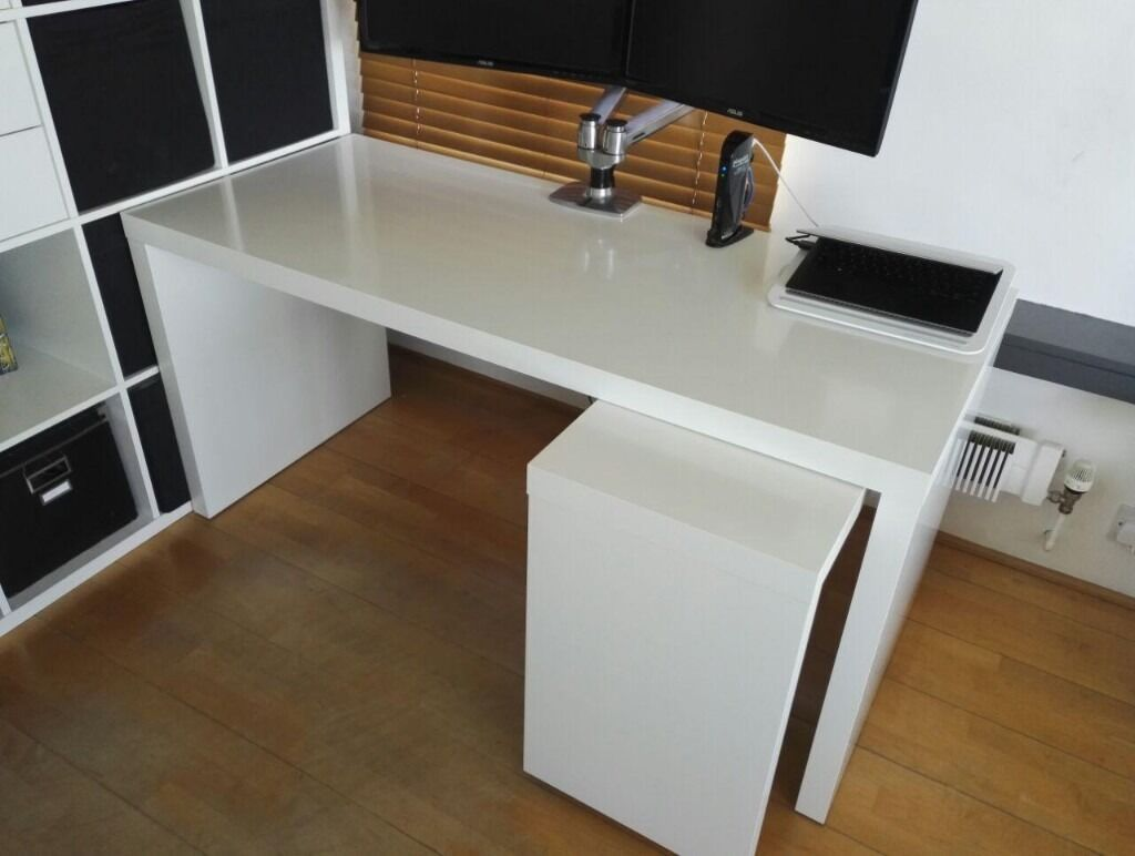 Exceptional White IKEA MALM Desk With Pull Out Panel Idea