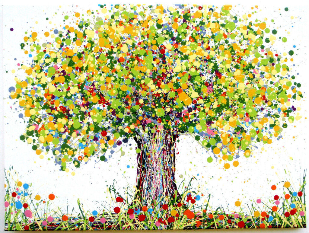 LARGE ABSTRACT NEW GREEN U0026 YELLOW OAK TREE U0026 FLOWERS MODERN ART PAINTING ON  CANVAS | Free Delivery