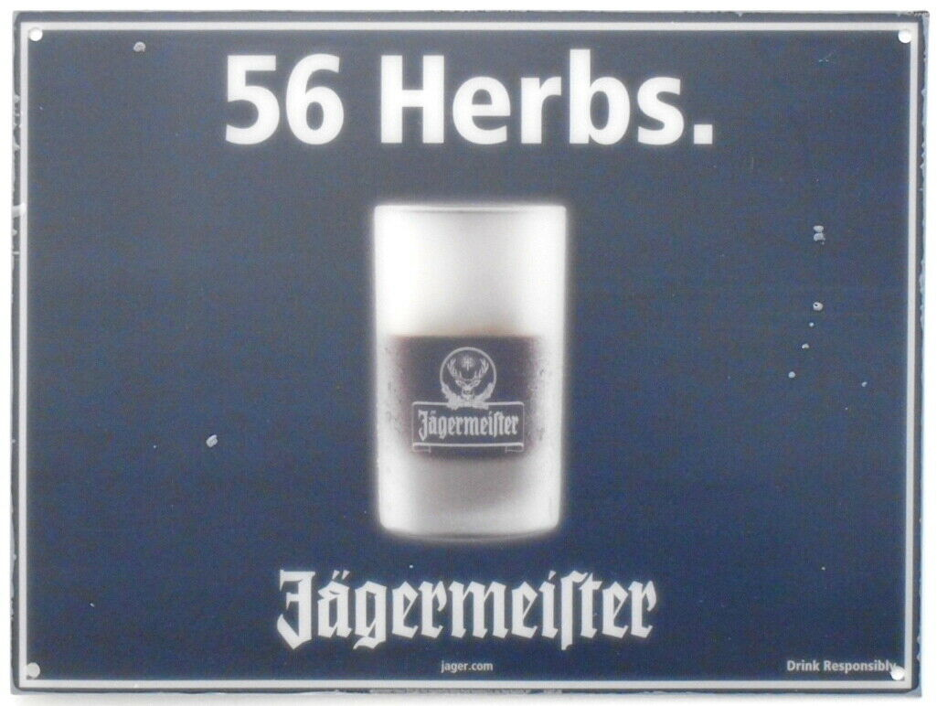 "Rare Jagermeister 56 Herbs 12"" x 16"" Plastic Display Insert Wall Hanger Sign NEW"