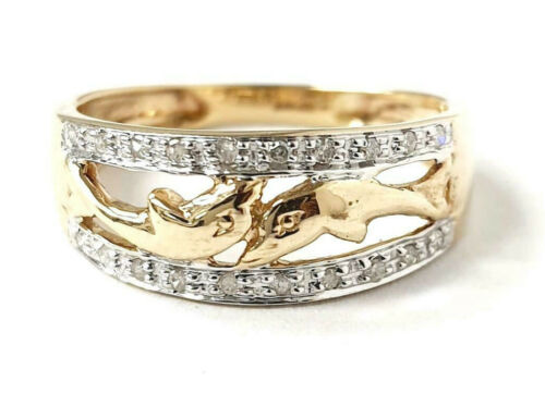 9ct Gold Dolphin Ring with diamonds 0.10ct 1.8g Size K 1/2 Fully Hallmarked