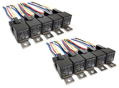 10pk - 5 Pin Spdt 40 Amp Relays Sockets Car Electrical Installs Relay