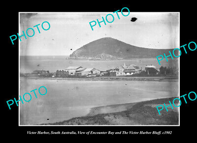 OLD POSTCARD SIZE PHOTO VICTOR HARBOR SOUTH AUSTRALIA THE TOWN & BLUFF c1902