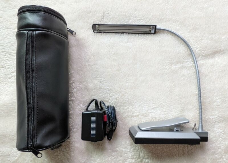 Tensor Everyday Study Lamp w Leather Case Adapter Portable Travel Booklight