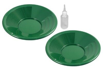 "2 Pack 8"" Green Gold Pans with Dual Riffles & Snuffer Bottle Mining Panning Kit"