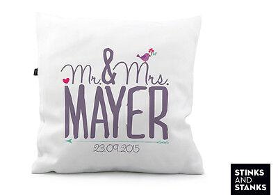 Kissen Hochzeit Geschenk  Mr. & Mrs. mit Name und Datum ()