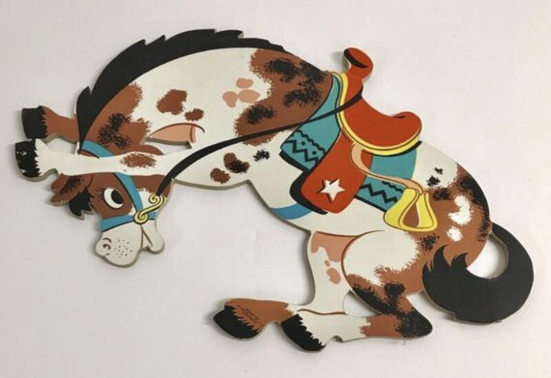 Vintage The Dolly Toy Co Wall Hanging Cowboy Bucking Horse