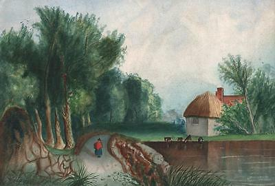 FIGURE IN COUNTRY LANDSCAPE VICTORIAN Watercolour Painting L CHAPELL 1871