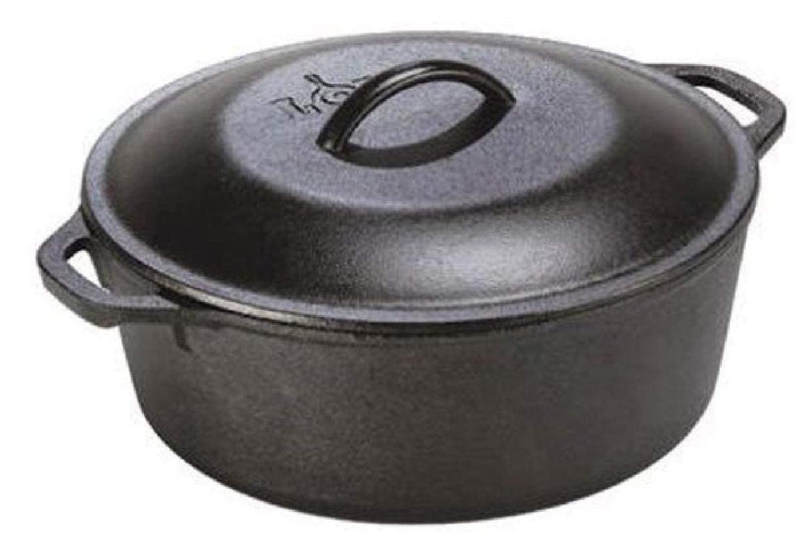 Lodge 5 Quart Cast Iron Dutch Oven. Pre-Seasoned Pot with Li