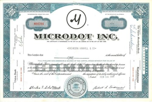 Microdot Inc > 1961 Pasadena, California old stock certificate share