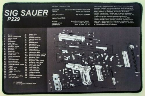 "Sig Sauer P229 Premium Stitched Non-slip Gun Cleaning Mat 11x17"" Fast Free Ship!"