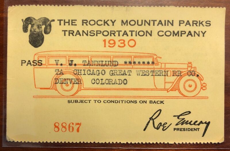 Rocky Mountain Parks Transportation Co 1930 Pass Great Western RR Co
