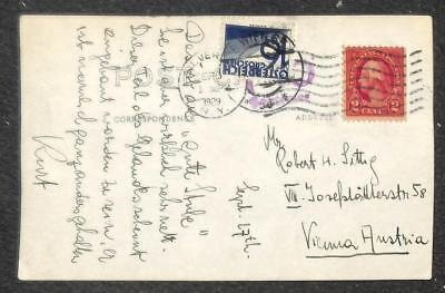 Silver Bay New York To Austria Postage Due Stamp Real Photo Postcard 1929
