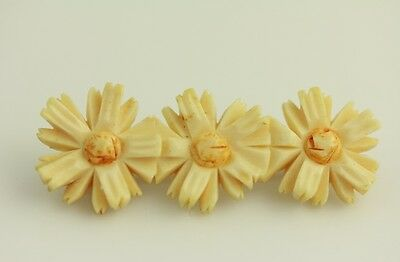 ANTIQUE HAND CARVED FLOWERS BROOCH WELL EXECUTED GOOD QUALITY SEE MY STORE J5191](Good Costume Stores)