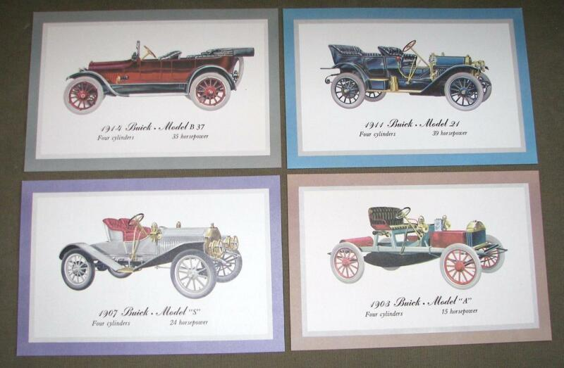 Vintage 4 Lithographed FRAMING PRINTS OF EARLY BUICK AUTOMOBILES Dealers Promo