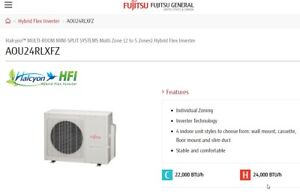 A/C  furnace Fujitsu multiroom heat and cooling a/c system