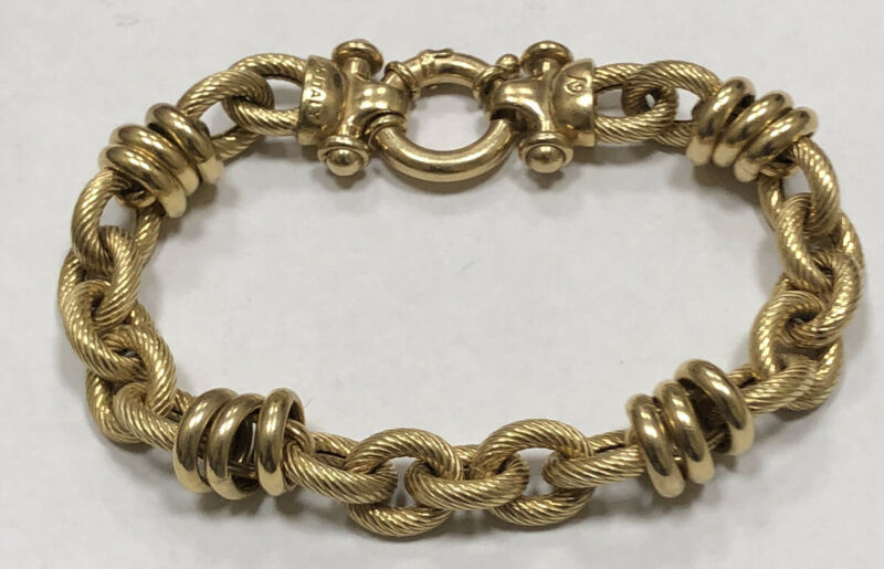 Beautiful Ladies 925 Italy Gold Tone Sterling Silver Link Bracelet