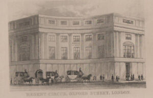Antique Print Regent Circus Oxford Street London.. pr.43