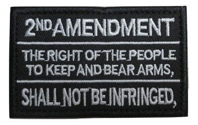 2nd Amendment Gun Rights Text Embroidered Hook and Loop Tactical Morale -