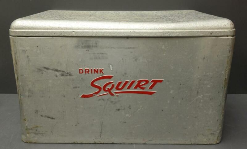 """RARE Vtg Cronstroms silver Aluminum """"DRINK SQUIRT"""" Ice Chest Cooler red letters"""