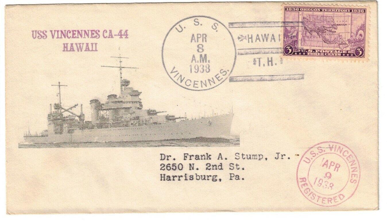 USS VINCENNES CA-44, APR 8, 1938, HAWAII / T.H., T-3 V-10b T-9v CANCEL - $2.50