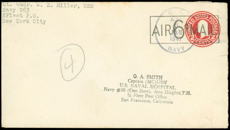 1947 Navy Cover, LG 6¢ Airmail Surcharge on PSE, Lt Cmdr NYC - SF MC USN Captain