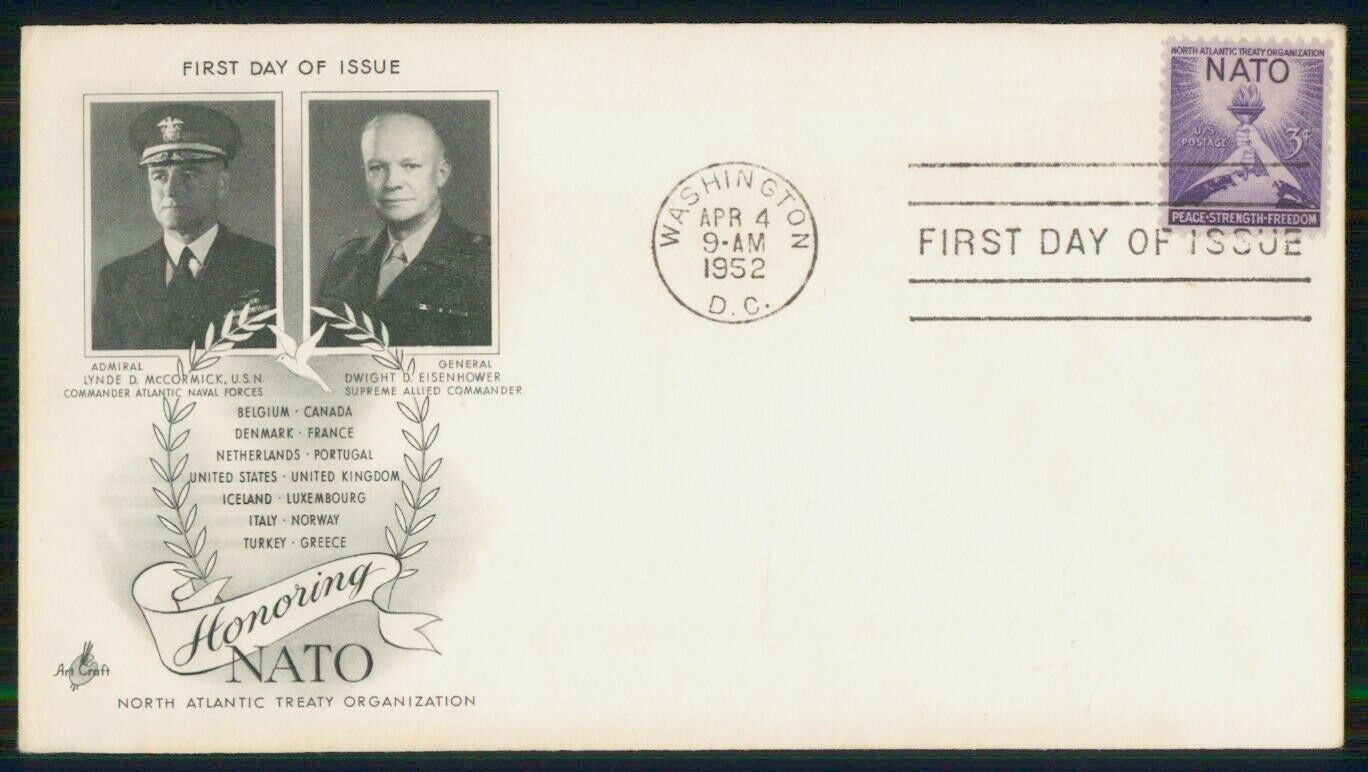 US FDC 1952 NATO Admiral McCormick USN And General Eisenhower Even - $1.00