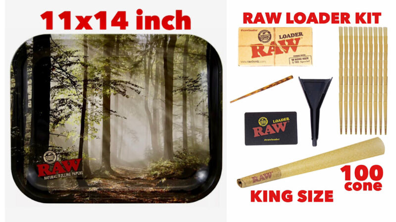 raw rolling metal tray(FOREST)large+raw king size cone(100 pack)+cone loader kit