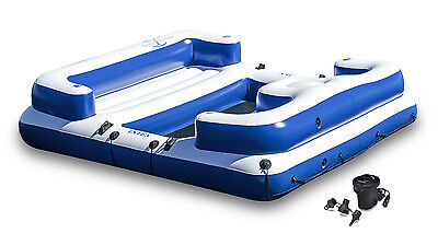 Intex Oasis Island Inflatable Seated Floating Water Lounge Raft W  Dc Air Pump