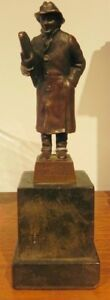 GERMAN BRONZE STATUE ON MARBLE BASE W. KRAFT