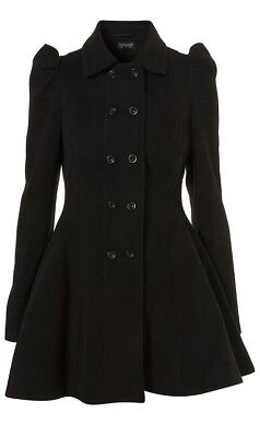 TOPSHOP Black Girly Full Skirted Princess Fit Flare Button Military Coat 10 38 ](Combat Boots Girly)