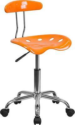 Vibrant Orange And Chrome Computer Task Chair With Tractor Seat