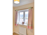 """NEXT girls Pink Tab Top Black Out Heavy/ Thick Lined Curtains 135 X 137 cm (53"""" X 54"""")"""