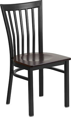 ( Black School House Back Metal Restaurant Chair with a Walnut Finished Wood Seat)