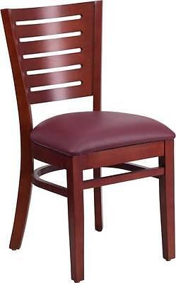 Darby Series Slat Back Mahogany Wooden Restaurant Chair - Burgundy Vinyl Seat