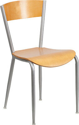 Invincible Series Metal Restaurant Chair With Natural Wood Back Seat