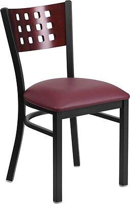 Cutout Back Metal Restaurant Chair W Mahogany Wood Back Burgundy Vinyl Seat