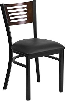 Slat Back Metal Restaurant Chair With Walnut Wood Back And Black Vinyl Seat