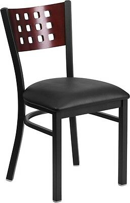 Cutout Back Metal Restaurant Chair With Mahogany Wood Backand Black Vinyl Seat