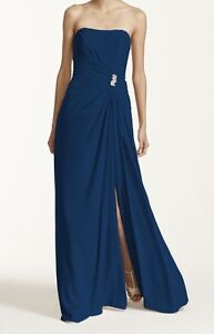 Beautiful, long strapless dress with brooch