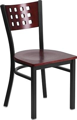 Cutout Back Metal Restaurant Chair With Mahogany Wood Back And Seat