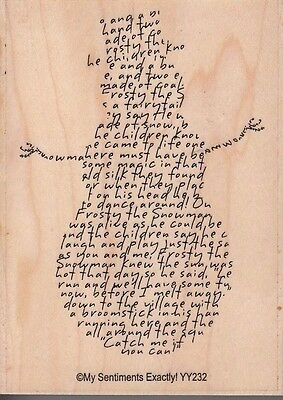"""snowman story my sentiments Wood Mounted Rubber Stamp 4 x 3""""  Free Shipping"""