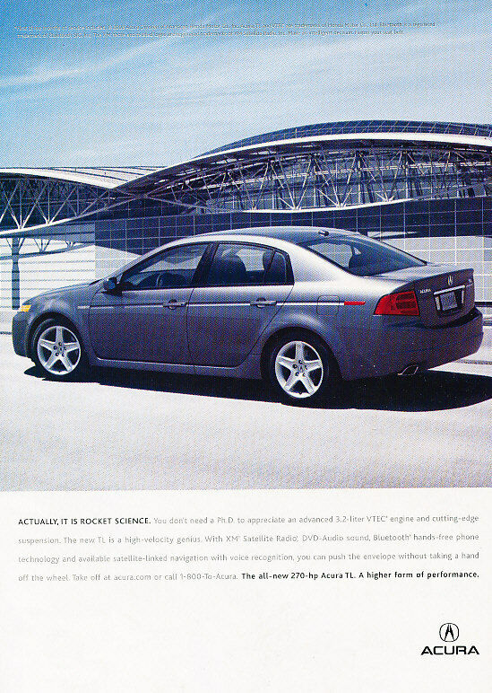 2004 Acura TL - Rocket - Classic Vintage Advertisement Ad D93