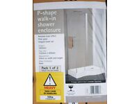 *New* P-shape walk in shower enclosure and tray