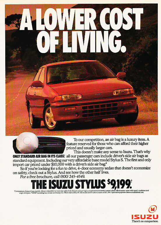 1991 Isuzu Stylus - lower cost - Classic Vintage Advertisement Ad H07